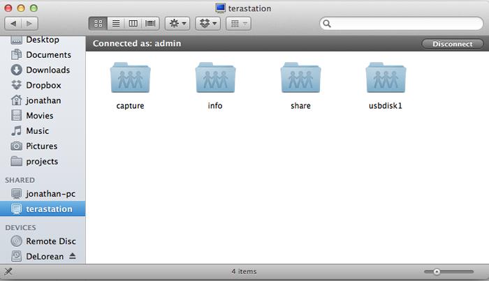 TeraStation in Finder